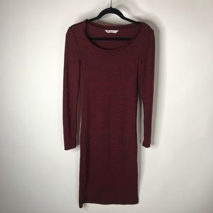 Bluenotes Burgundy Fitted Midi Long Sleeve…
